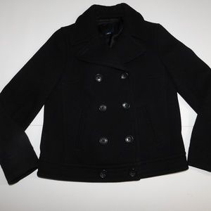 GAP Cropped Black Pea Coat Small @